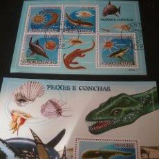 Sellos: HB S. TOME Y PRINCIPE MTDOS/2009/FAUNA, PECES Y CONCHAS/VIDA MARINA/ANIMALES PREHISTORICOS/DINOSAURI. Lote 139967677