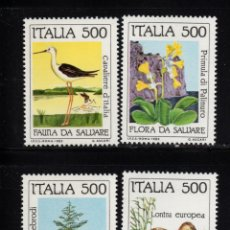 Sellos: ITALIA 1658/61** - AÑO 1985 - PROTECCION DE LA NATURALEZA - FAUNA Y FLORA. Lote 142179730