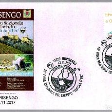 Sellos: MATASELLOS DE SETAS: FERIA NACIONAL DE TRUFAS - PERRO. MURISENGO, ITALIA, 2017. Lote 147290134