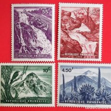 Sellos: RWANDA. 179/82 PAISAJES: VOLCÁN MIKENO, CATARATAS NYAMILANGA, VOLCANES GAHINGA Y MAHABURA, LOBELIES,. Lote 150714106