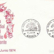 Sellos: AÑO 1974, DIA MUNDIAL DEL MEDIO AMBIENTE, MATASELLO DE MADRID, EN SOBRE DE ALFIL. Lote 157002214