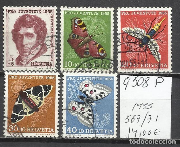 Q508P-SELLOS SUIZA SERIE COMPLETA 14,00€ ,JUVENTUD.1955 Nº 567/71 INSECTOS,MARIPOSAS.FAUNA.HELVETIA. (Sellos - Temáticas - Naturaleza)
