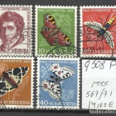 Sellos: Q508P-SELLOS SUIZA SERIE COMPLETA 14,00€ ,JUVENTUD.1955 Nº 567/71 INSECTOS,MARIPOSAS.FAUNA.HELVETIA.. Lote 158766082