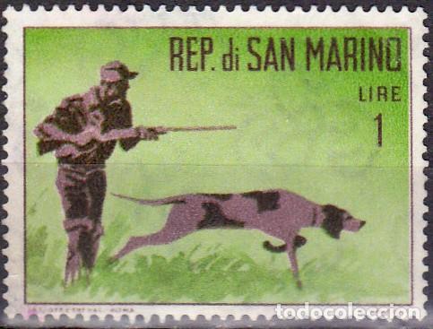 1962 - SAN MARINO - CAZA - CAZADOR CON PERRO - YVERT 562 (Sellos - Temáticas - Naturaleza)