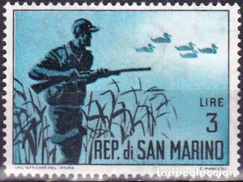 1962 - SAN MARINO - CAZA - CAZA DE PATOS - YVERT 564 (Sellos - Temáticas - Naturaleza)