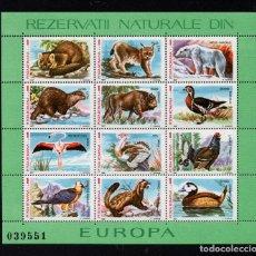 Sellos: RUMANIA HB 191/92** - AÑO 1987 - FAUNA - FLORA - RESERVAS NATURALES DE EUROPA. Lote 166538898