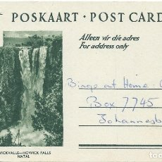 Sellos: SUDFÁFRICA/SOUTH AFRICA. ENTERO POSTAL/STATIONERY. CATARATAS/WATERFALLS. FAUNA. HERÁLDICA.. Lote 182600860