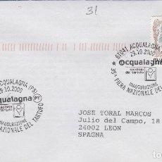 Sellos: 2000 ITALIA ACQUALAGNA , FERIA TRUFA INAUGURACIÓN - TEMA MICOLOGIA ,SETAS, HONGOS- SOBRE /SPD/FDC. Lote 186096856
