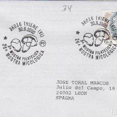 Sellos: 2000 ITALIA THIENE 26 MUESTRA FILATÉLICA - TEMA MICOLOGIA ,SETAS, HONGOS- SOBRE /SPD/FDC. Lote 186096983