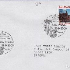 Sellos: 2000 SAN MARINO , XI MUESTRA MICOLÓGICA DEL TITANO - TEMA MICOLOGIA ,SETAS, HONGOS- SOBRE /SPD/FDC. Lote 186097103