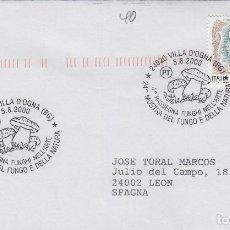 Sellos: 2000 ITALIA VILLA D'OGNA , 24 MUESTRA DEL FUNGO - TEMA MICOLOGIA ,SETAS, HONGOS- SOBRE /SPD/FDC. Lote 186097283