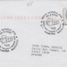 Sellos: 2000 ITALIA NORCIA , 37 MUESTRA TRUFA - TEMA MICOLOGIA ,SETAS, HONGOS- SOBRE /SPD/FDC. Lote 186097463