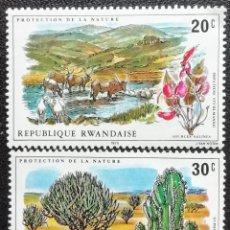 Sellos: 1975. RWANDA. 660, 661. NATURALEZA. AGUA SALADA, BOSQUES (SABANA). NUEVO.. Lote 197931156