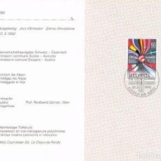 Sellos: SUIZA IVERT Nº 1398, ¡PROTEGEZ LOS ALPES! EN DIPTICO DEL SERVICIO FILATELICO SUIZO, VER TAPA. Lote 206352043