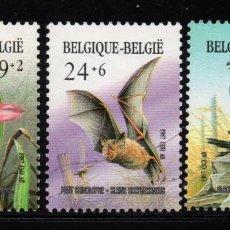 Sellos: BÉLGICA 2244/46** - AÑO 1987 - FAUNA - FLORA - AVES DE PRESA - MURCIELAGOS - FLORES - ORQUIDEAS. Lote 212631167