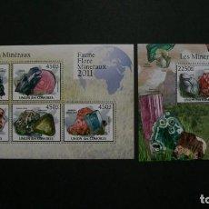 Sellos: /10.08/-COMORES-2011-MINIPLIEGO+BLOQU EN NUEVO(**MNH)-MINERALES. Lote 214130961