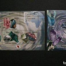 Sellos: /18.09/-COMORES-2011-SERIE COMPLETA+BLOQUE EN NUEVO(**MNH)-MINERALES. Lote 218121816