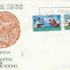 Sellos: EDIFIL 1747/8, MITOLOGIA, EUROPA 1966 (EL RAPTO DE EUROPA POR ZEUS), PRIMER DIA 26-9-1966 ALFIL. Lote 218608822