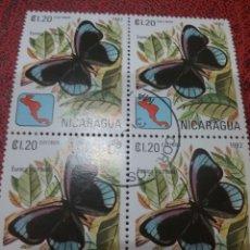 Sellos: SELLOS NICARAGUA MTDOS/1982/ANIMALES/POLILLAS/MARIPOSAS/SALVAJES/FAUNA/FLORES/FLORA/NATURALEZA/MAPA/. Lote 220885856