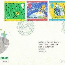 Sellos: INGLATERRA IVERT 1633/6, EMISIÓN VERDE (CAPA DE OZONO...) PRIMER DIA DE 15-9-1992. Lote 220963006