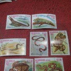 Sellos: SELLOS NICARAGUA MTDOS/1982/ANIMALES/SALVAJES/REPTILES/FAUNA/SERPIENTE/VIVORA/TORTUGA/IGUANA/COCODR. Lote 221314240