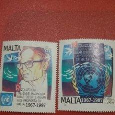 Sellos: SELLOS MALTA NUEVOS/1987/20ANIV/FONDOS/MARINOS/ONU/FAMOSO/PALOMAS/AVES/PAJAROS/PECES/EMBLEMA/GLOBO/. Lote 234382005