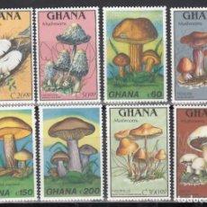 Sellos: GHANA. 1989 YVERT Nº 1026 / 1029, 1060 / 1063, /**/, SETAS / HONGOS.. Lote 243465070