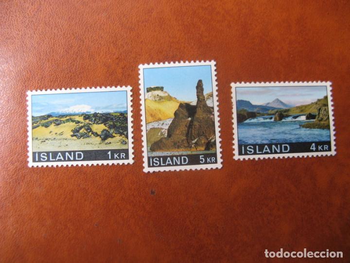 ISLANDIA, 1970, PAISAJES, 3 SELLOS NUEVOS (Sellos - Temáticas - Naturaleza)