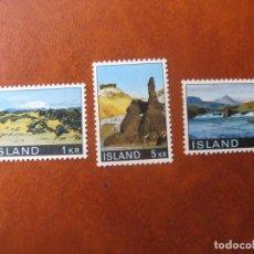 Sellos: ISLANDIA, 1970, PAISAJES, 3 SELLOS NUEVOS. Lote 245567430