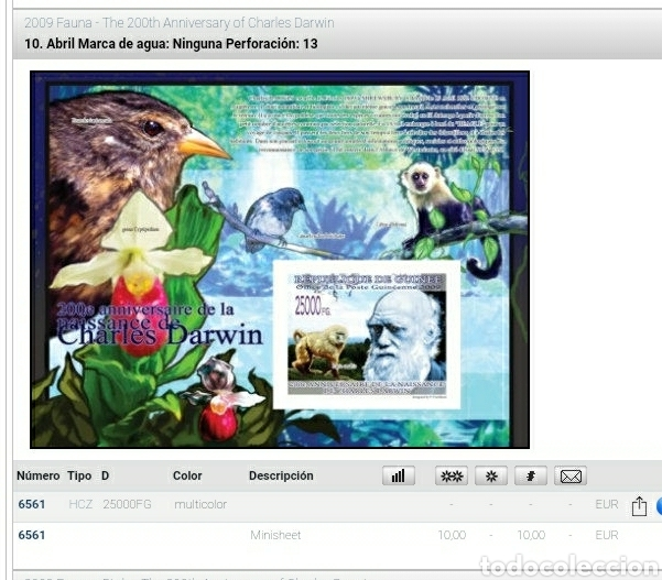 Sellos: HB R. Guinea mtdos/2009/200Aniv/nacimiento/Charles/Darwin/aves/pajaros/simio/mono/flores/flora/mamif - Foto 2 - 253546025