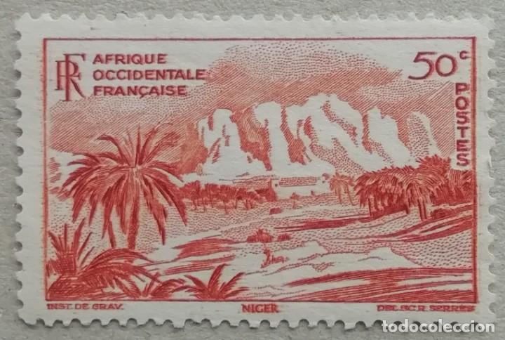 1947. ÁFRICA OCCIDENTAL FRANCESA. 27. MONTAÑAS DEL NÍGER. USADO. (Sellos - Temáticas - Naturaleza)