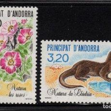 Sellos: ANDORRA 393/94** - AÑO 1990 - FAUNA Y FLORA - FLORES - NUTRIA - PROTECCION DE LA NATURALEZA. Lote 262258840