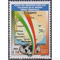 Sellos: ⚡ DISCOUNT URUGUAY 2003 VISIT OF MIRKO TREMAGLIA - ITALIAN MINISTER FOR ITALIANS ABROAD MNH. Lote 270390033
