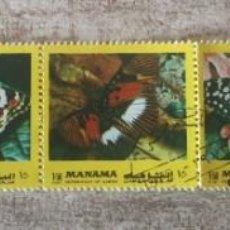 Sellos: 5 SELLOS USADOS EN BLOQUE MANAMA 1972/MARIPOSAS/FAUNA/NATURALEZA/POLILLA/INSECTOS/ANIMALES. Lote 280595663