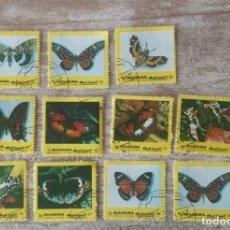 Sellos: 11 SELLOS USADOS MANAMA 1972/MARIPOSAS/FAUNA/NATURALEZA/POLILLA/INSECTOS/ANIMALES. Lote 280597173