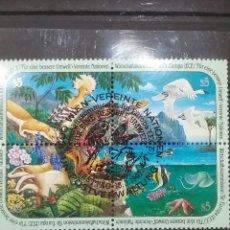 Sellos: SELLO NACIONES UNIDAS (VIENA) MTDOS/1991/COMISION/PROTECCION/ANIMALES/FAUNA/FLORA/MANTA/MARINA/AVE/P. Lote 287559038