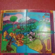 Sellos: SELLO NACIONES UNIDAS (VIENA) MTDO/1997/CUMBRE/PALNETA/NATURALEZA/FAUNA/FLORA/ARBOLES/RIO/VALLE/DIBU. Lote 287912433