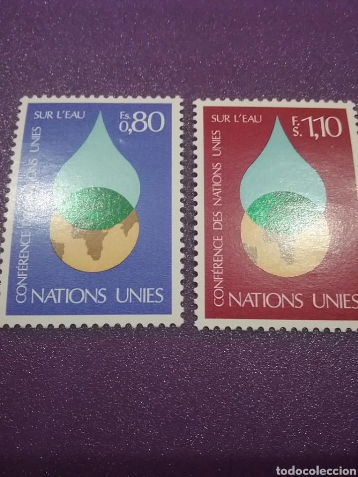 SELLO NACIONES UNIDAS (GINEBRA) NUEVO/1977/CONFERENCIA/INTERN/AGUA/GLOBO/TERRAQUEO/GOTA/NATURALEZA/P (Sellos - Temáticas - Naturaleza)
