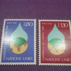 Sellos: SELLO NACIONES UNIDAS (GINEBRA) NUEVO/1977/CONFERENCIA/INTERN/AGUA/GLOBO/TERRAQUEO/GOTA/NATURALEZA/P. Lote 288364838