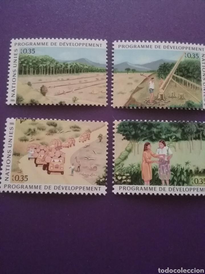 SELLO NACIONES UNIDAS (GINEBRA) NUEVO/1986/DESARROLLO/ACUIFERO/NATURALEZA/COCHES/ARBOL/BOSQUE/CAMION (Sellos - Temáticas - Naturaleza)