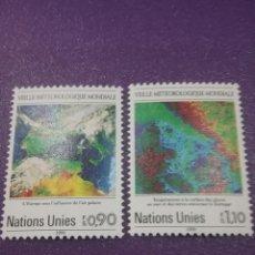 Sellos: SELLO NACIONES UNIDAS (GINEBRA) NUEVO/1989/25ANIV/SERVICIO/METEOLOGICO/MAPA/PENINSULA/SATELITE/ESPAC. Lote 288715663