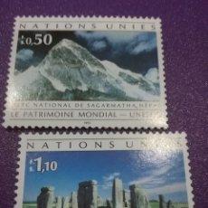 Sellos: SELLO NACIONES UNIDAS (GINEBRA) NUEVO/1992/20ANIV/UMESCO/PARQUE/MONTAÑA/NEPAL/STONEHENGE/NEOLITICO/A. Lote 288969143