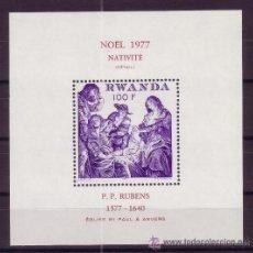 Sellos: RWANDA HB 80*** - AÑO 1977 - NAVIDAD - PINTURA RELIGIOSA - OBRA DE RUBENS. Lote 113044675