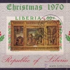 Sellos: LIBERIA HB 52 - AÑO 1970 - NAVIDAD - PINTURA - OBRA DE MANTEGNA. Lote 15488560