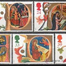 Sellos: INGLATERRA IVERT 1574/8, NAVIDAD 1991, LETRAS CAPITULARES DE LIBROS INCUNABLES, NUEVO. Lote 24297230