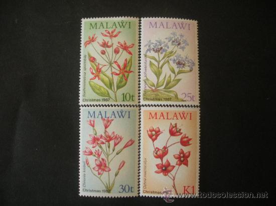 MALAWI 1987 IVERT 501/4 *** NAVIDAD - FLORES INDIGENAS - FLORA (Sellos - Temáticas - Navidad)