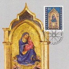 Sellos: LIECHTENSTEIN IVERT 1062, NAVIDAD 1995 (LORENZO MONACO), TARJETA MAXIMA DE 4-12-1995. Lote 32332946