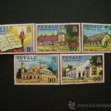 Sellos: TUVALU 1976 IVERT 38/42 *** NAVIDAD - IGLESIAS . Lote 32616344
