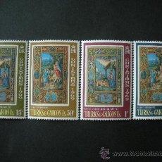 Sellos: TURKS & CAICOS 1969 IVERT 237/40 *** NAVIDAD - ILUSTRACIONES DEL LIBRO DE LAS HORAS. Lote 34129000
