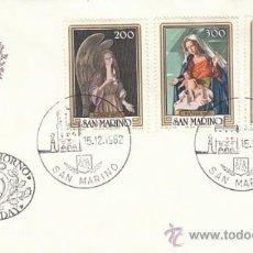 Sellos: SAN MARINO IVERT 1063/5, NAVIDAD 1982 (PINTURAS DE SCILLIAN), PRIMER DIA DE 15-12-1982. Lote 34203494